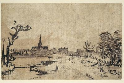 Landscape with Water, the Village of Amstelveen in the Background, C.1654-55 by Rembrandt van Rijn