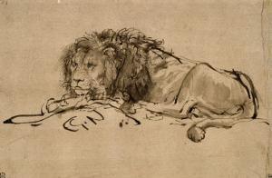 Lion au repos by Rembrandt van Rijn