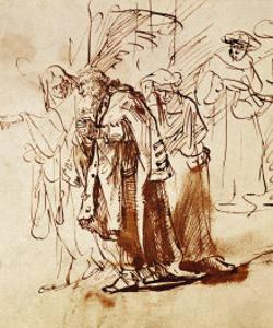 Lot and His Family, Pen and Ink Drawing by Rembrandt van Rijn