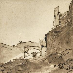 Outskirts of a Town with Walls and a Doorway, C.1627-28 by Rembrandt van Rijn