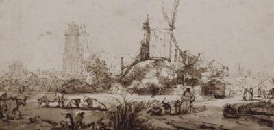 Paysage avec un moulin au centre by Rembrandt van Rijn