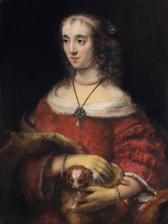 Portrait of a Lady with a Lap Dog, Ca 1665 by Rembrandt van Rijn