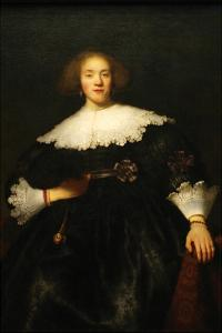 Portrait of a Seated Woman with Pendant by Rembrandt van Rijn