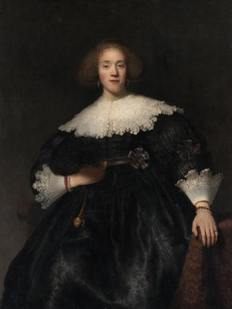 Portrait of a Young Woman with a Fan, 1633 by Rembrandt van Rijn