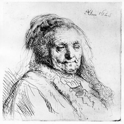 Portrait of the Artist's Mother, 1628 (Etching) by Rembrandt van Rijn