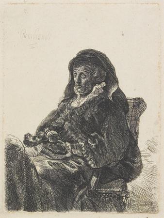 Rembrandt's Mother in Widow's Dress and Black Gloves, C.1632-35 by Rembrandt van Rijn