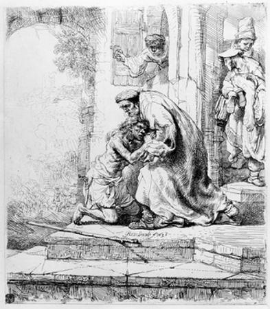 Return of the Prodigal Son, 1636 (Etching) by Rembrandt van Rijn