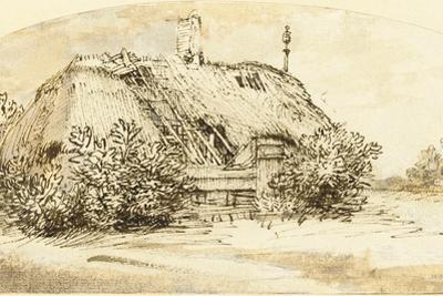 Ruined Thatched Cottage Overgrown with Bushes (Pen and Ink and Wash on Paper) by Rembrandt van Rijn