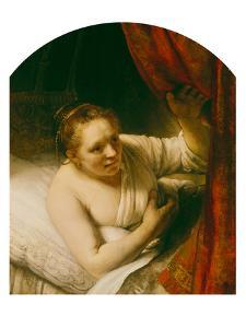 Sarah Expects Tobias in the Wedding Night, 164(.) by Rembrandt van Rijn