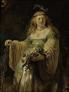 Saskia Van Ulenborch in Arcadian Costume, 1634 by Rembrandt van Rijn