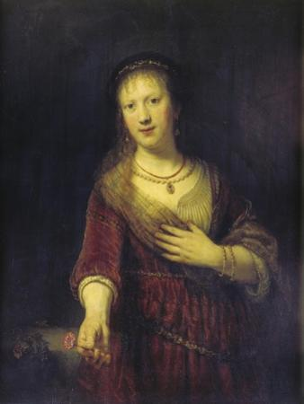 Saskia with a Red Flower, 1641 by Rembrandt van Rijn