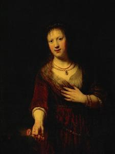 Saskia with a Red Flower by Rembrandt van Rijn
