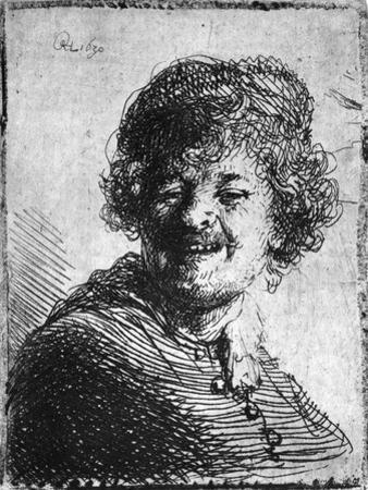 Self-Portrait, 1630 (Etching) by Rembrandt van Rijn