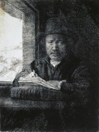Self-Portrait Drawing by a Window, 1648 by Rembrandt van Rijn