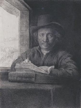 Self-Portrait, Etching at a Window, 1648 (Etching and on Laid Paper) by Rembrandt van Rijn