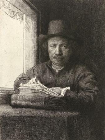 Self-Portrait Etching at a Window, 1648 by Rembrandt van Rijn