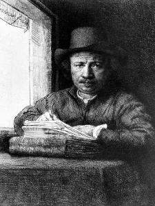 Self Portrait While Drawing, 1648 (Etching) by Rembrandt van Rijn