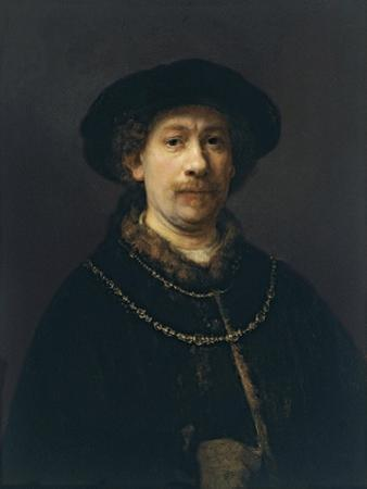 Self Portrait with Beret and Two Gold Chains, Ca 1642 by Rembrandt van Rijn