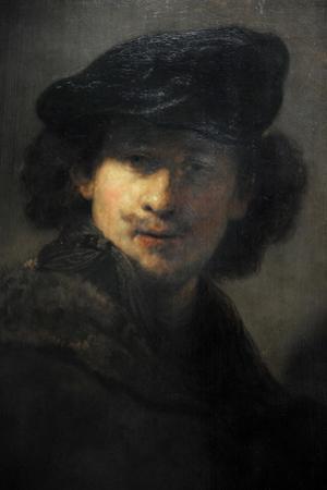 Self-Portrait with Velvet Beret and Furred Mantel, 1634, by Rembrandt (1606-1669) by Rembrandt van Rijn