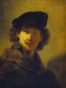 Self Portrait with Velvet Cap and a Cloak with Fur Collar, 1634 by Rembrandt van Rijn