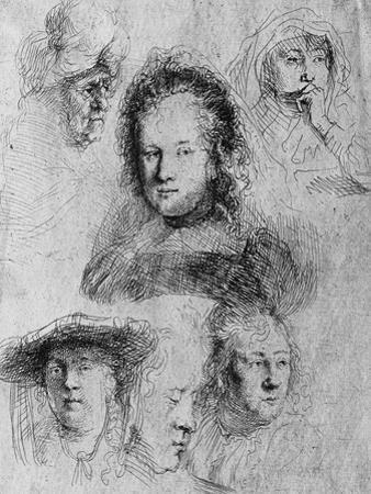 Six Heads with Saskia Van Uylenburgh in the Centre, 1636 by Rembrandt van Rijn