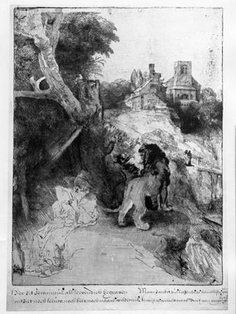 St. Jerome in an Italian Landscape, C.1653 (Etching) by Rembrandt van Rijn