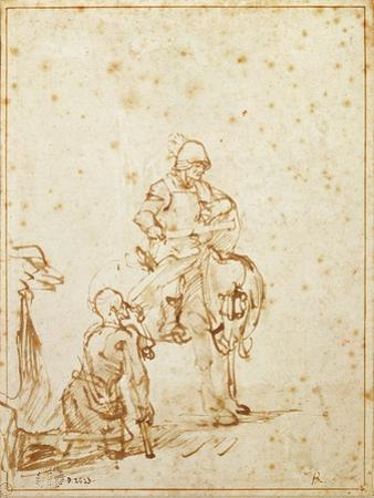 St. Martin and the Beggar (Pen and Ink on Paper) by Rembrandt van Rijn