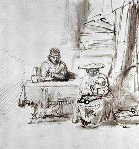 The Holy Family, Pen and Ink Drawing by Rembrandt van Rijn