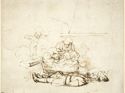 The Holy Family Sleeping, with Angels, 1645 by Rembrandt van Rijn