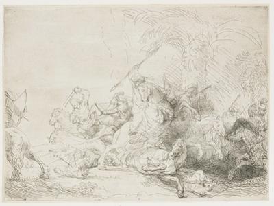 The Large Lion Hunt, 1641 by Rembrandt van Rijn