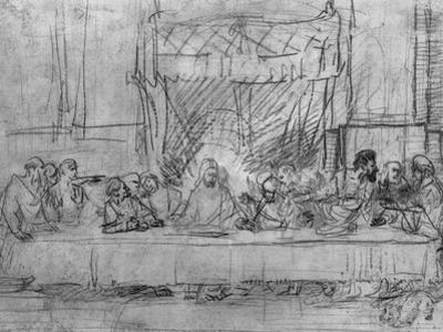 The Last Supper, after the Fresco by Leonardo Da Vinci circa 1635 by Rembrandt van Rijn