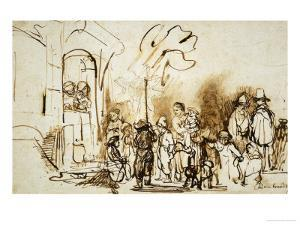 The Star of the Kings, A Dutch Custom to Celebrate the Feast of Epiphany (January 6th) by Rembrandt van Rijn