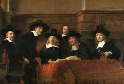 The Syndics: the Sampling Officials (Wardens) of the Amsterdam Drapers Guild by Rembrandt van Rijn