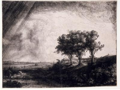 Three Trees on a Small Hillock Overlooking a Path with a Figure Sitting on a Bench, c.1643 by Rembrandt van Rijn
