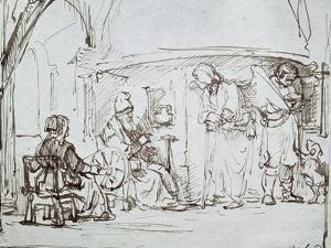 Tobias and the Angel, Pen and Brown Ink Drawing by Rembrandt van Rijn