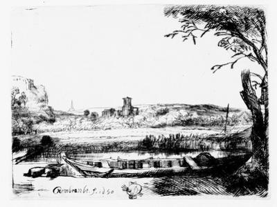 View of a Canal, 1650 (Etching) by Rembrandt van Rijn