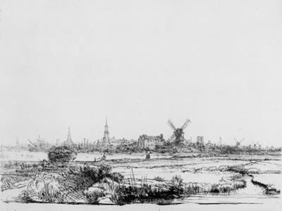 View of Amsterdam, C.1640 (Etching) by Rembrandt van Rijn