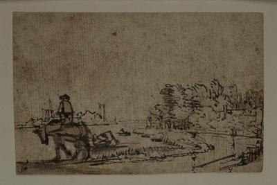 View on the Amstel, with a Horse Towing a Barge, C.1650 by Rembrandt van Rijn