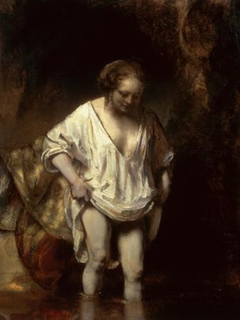 Woman Bathing in a Stream, 1654 (Oil on Panel) by Rembrandt van Rijn