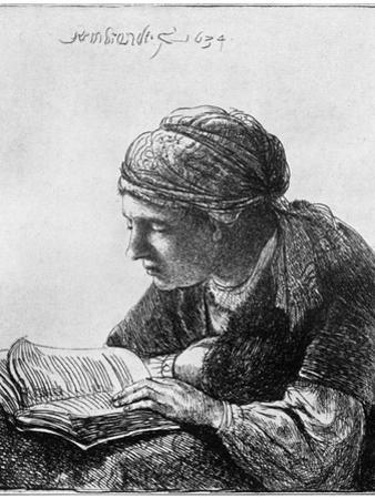 Woman Reading, 1634 by Rembrandt van Rijn