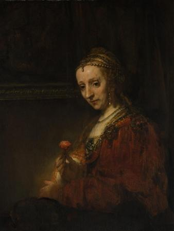 Woman with a Pink, c.1660 by Rembrandt van Rijn