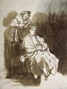 Young Woman at Her Toilet, Pen and Brown Ink, Brown Wash by Rembrandt van Rijn