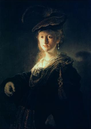 Young Woman in Fancy Dress by Rembrandt van Rijn