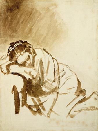 Young Woman Sleeping by Rembrandt van Rijn
