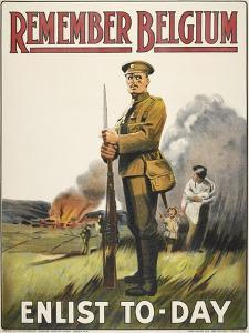 Remember Belgium - Enlist To-day' a Recruitment and Propaganda Poster