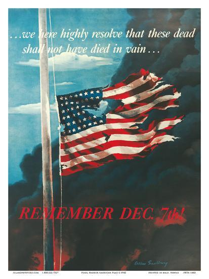 Remember December 7th!, In Remembrance of the Japanese Attack on Pearl Harbor, Honolulu, Hawaii-Allen Saalburg-Art Print