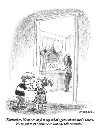 """""""Remember, it's not enough to say what's great about mac'n'cheese. We've g?"""" - New Yorker Cartoon-Pat Byrnes-Premium Giclee Print"""