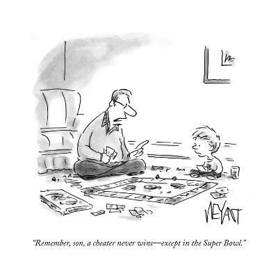 """""""Remember, son, a cheater never wins?except in the Super Bowl."""" - Cartoon-Christopher Weyant-Premium Giclee Print"""