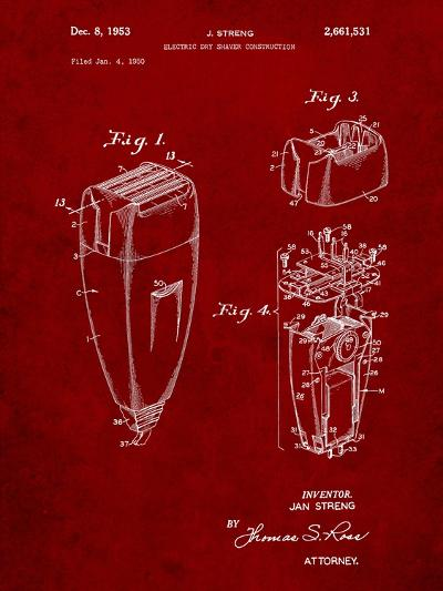 Remington Electric Shaver Patent-Cole Borders-Art Print