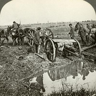 Removing a Field Gun from a Flooded Position, World War I, 1914-1918--Photographic Print